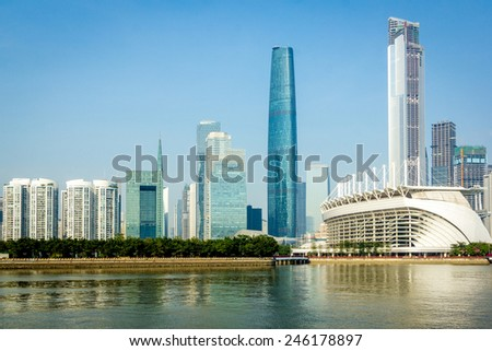 beautiful guangzhou city on riverside of pearl river in daytime