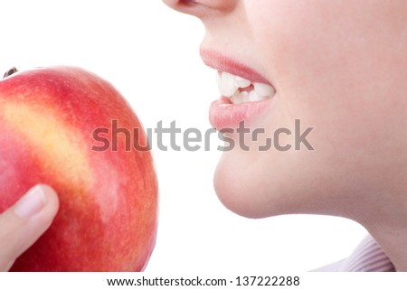 beautiful guy, bite the Apple isolated on white background