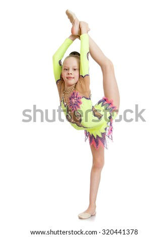 Beautiful gymnast girl doing difficult exercise-Isolated on white background - stock photo
