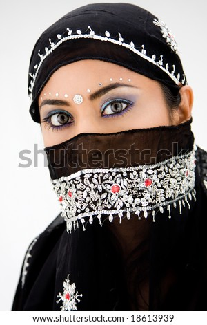 Beautiful gypsy woman with black head scarf, isolated - stock photo