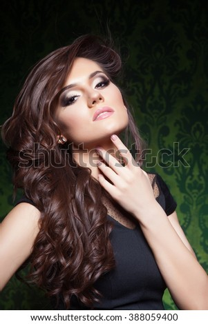 Beautiful hair, portrait of an young girl with beautiful make-up - stock photo
