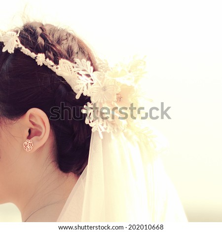 Beautiful hair style of bride with retro instagram filter effect - stock photo