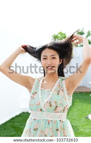 Beautiful hair woman. Portrait of asian. - stock photo