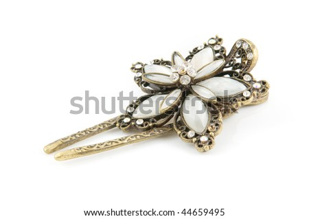 Beautiful hairpin isolated on white background - stock photo