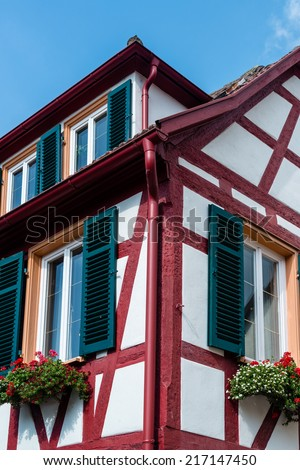 Beautiful half timbered house with flowers in Besigheim, South Germany - stock photo