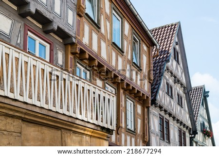 Beautiful half timbered houses in Besigheim, South Germany - stock photo