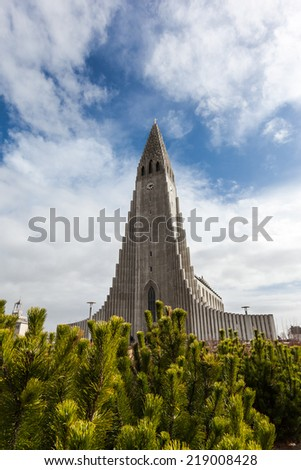 beautiful Hallgrimskirkja church in Reykjavik, Iceland - stock photo