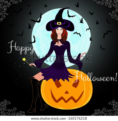 """Beautiful Halloween card with young witch sitting on a pumpkin """"Happy Halloween!"""" Raster version - stock photo"""