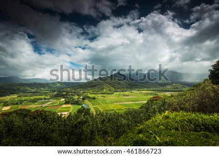 Beautiful Hanalei Valley overlooking the taro fields a popular vacation destination
