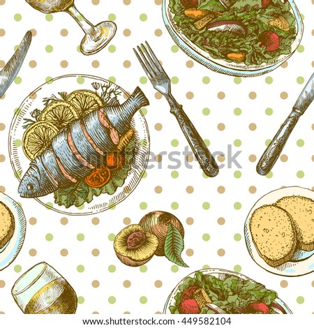 Beautiful hand drawn illustration sketching of dinner. Fish and wine. Use for postcards, menu. - stock photo