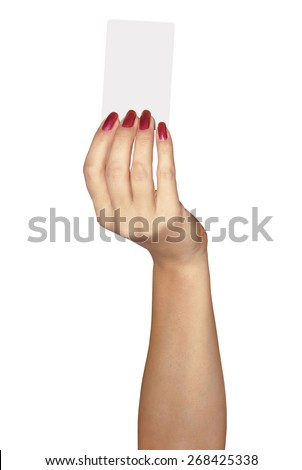 Beautiful hand of a woman with a credit card.  Isolated over white background.  - stock photo