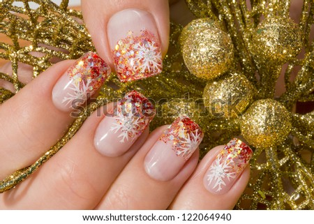 beautiful hand with fresh manicured stylish nails