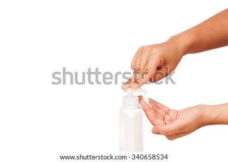 beautiful hand woman applying skin cream - stock photo