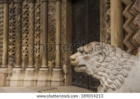 beautiful handcraft lion sculpture on the exterior of a Gothic church