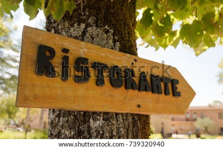 Beautiful handmade wooden Italian restaurant sign (Ristorante)