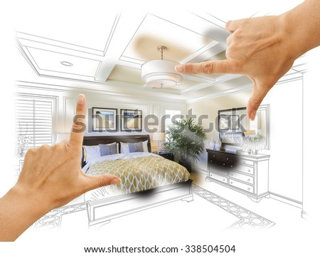 Beautiful Hands Framing Custom Bedroom Drawing Photograph Combination. The framed art is photographer's copyright. - stock photo