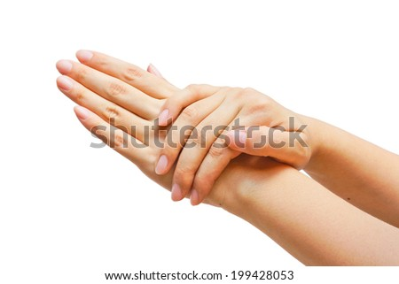 Beautiful hands of young woman, body care - isolated on white background