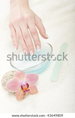 Beautiful hands with healthy skin and perfect fresh french manicure