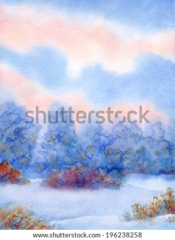 Beautiful handwork watercolor backdrop with space for text. Quiet winter sunset. Snow-covered valley with dry bushes and forest thicket
