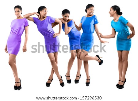 Beautiful, Happy African Fashion Models  - stock photo