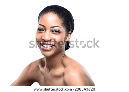 Beautiful, Happy African Woman - stock photo