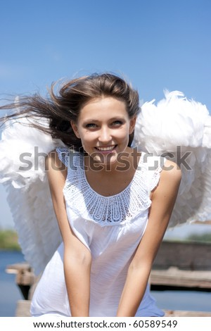 Beautiful happy angel girl