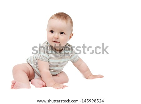 beautiful happy baby boy sitting on white background