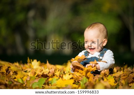 Beautiful happy baby in autumn nature - sitting in leaves