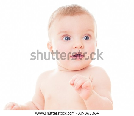Beautiful happy baby. One, isolated on white. - stock photo