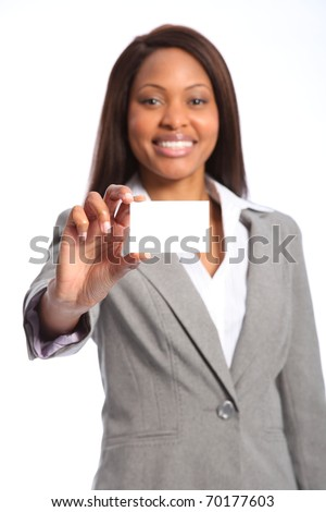 Beautiful happy black woman with business card