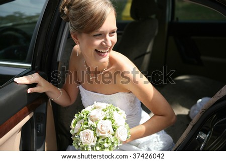 beautiful happy bride - stock photo