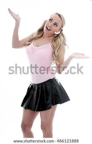 Beautiful Happy Carefree Woman Showing Delight Alone against a White Background