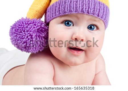 Beautiful happy cute laughing smiling baby infant face, isolated on white background - stock photo