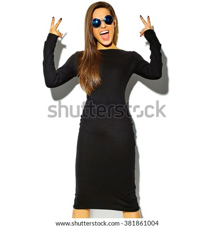 beautiful happy cute smiling brunette woman girl in casual black hipster summer clothes with no makeup isolated on white in sunglasses, showing peace sign - stock photo
