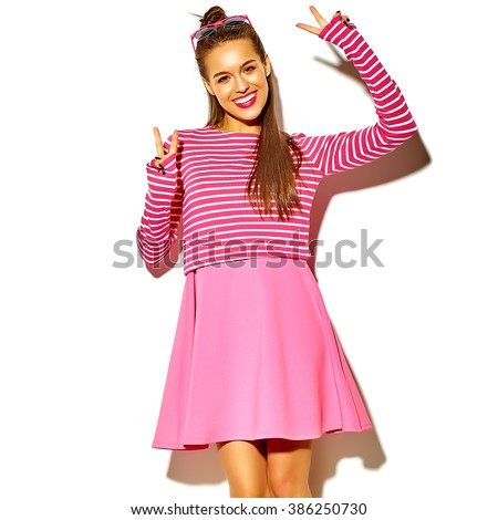 beautiful happy cute smiling brunette woman girl in casual colorful hipster summer pink clothes with red lips isolated on white showing peace sign - stock photo