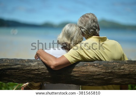 Beautiful happy elderly couple on beach at tropical resort,back view - stock photo