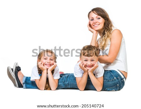 beautiful happy family: mother, her son and daughter. Isolated on white background - stock photo
