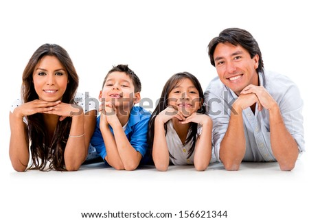 Beautiful happy family smiling - isolated over a white background  - stock photo