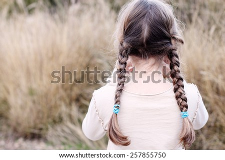 beautiful happy girl outdoors, country style - stock photo