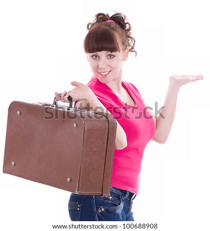 Beautiful happy girl with a suitcase on white background - stock photo