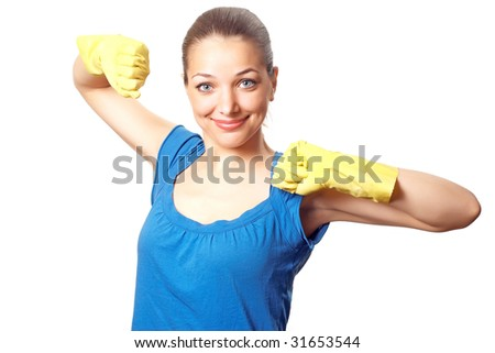 Beautiful happy housewife with rubber gloves with hands up