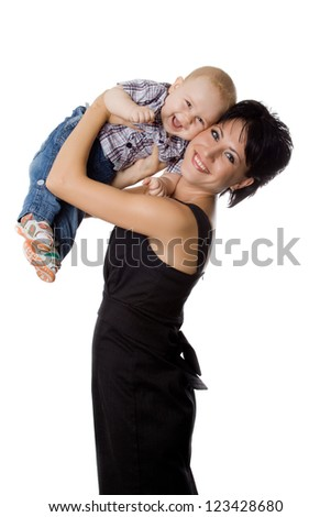 Beautiful happy mather with attractive baby boy on white. Portrait of  baby and his mother.