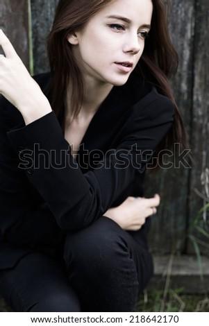 beautiful happy model posing - stock photo