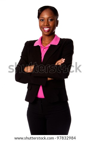 Beautiful happy smiling African corporate business student woman in suit standing with arms crossed, isolated. - stock photo