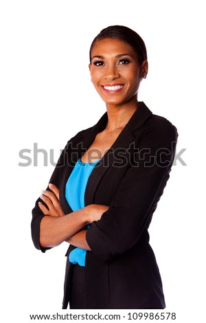 Beautiful happy smiling African executive business woman in suit and arms crossed, isolated. - stock photo