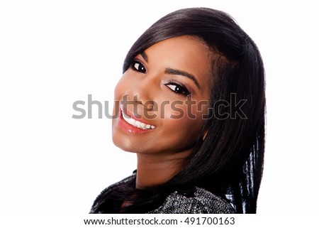 Beautiful happy smiling beauty face of black African businesswoman, on white.
