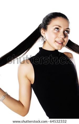 Beautiful happy smiling business woman in black - stock photo