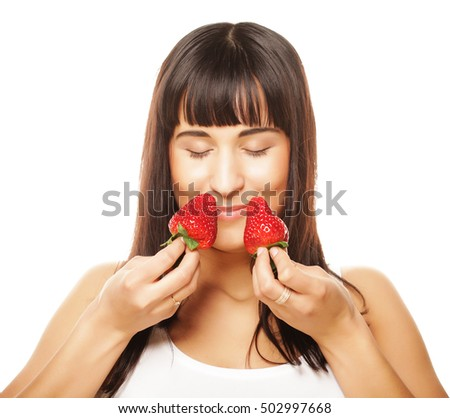 beautiful happy smiling woman with strawberry