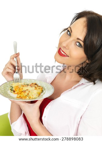 Beautiful Happy Smiling Young Woman in Her Twenties  Holding a Plate of Cannelloni Pasta