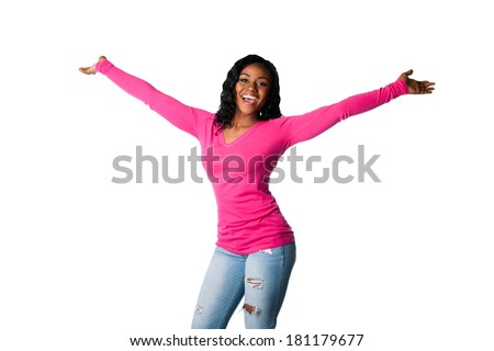 Beautiful happy smiling young woman with open arms welcoming celebrating cheering, isolated.